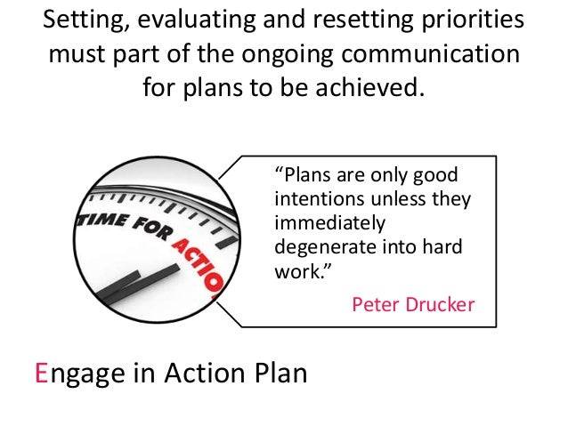 """Setting, evaluating and resetting priorities must part of the ongoing communication for plans to be achieved. """"Plans are o..."""