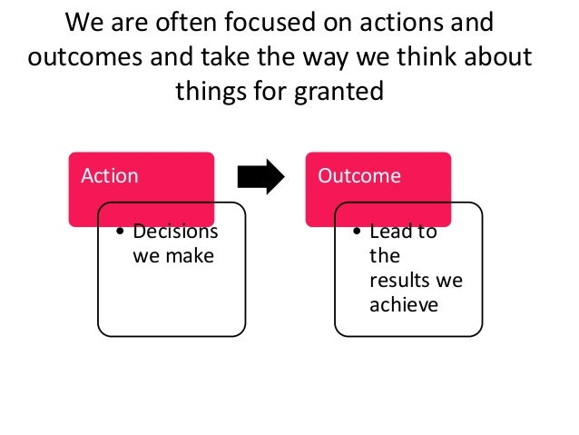 Action • Decisions we make Outcome • Lead to the results we achieve We are often focused on actions and outcomes and take ...