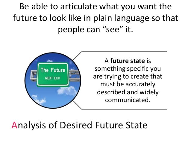 """Be able to articulate what you want the future to look like in plain language so that people can """"see"""" it. A future state ..."""