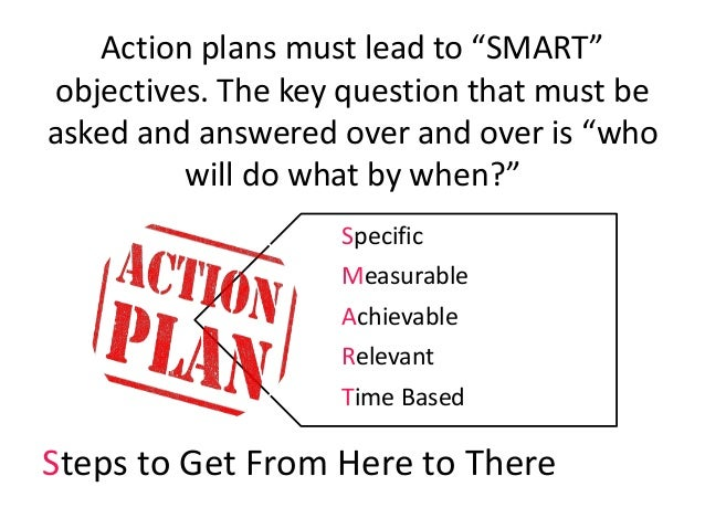 """Action plans must lead to """"SMART"""" objectives. The key question that must be asked and answered over and over is """"who will ..."""
