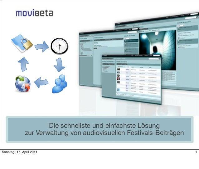 Die schnellste und einfachste Lösung zur Verwaltung von audiovisuellen Festivals-Beiträgen Sonntag, 17. April 2011  1