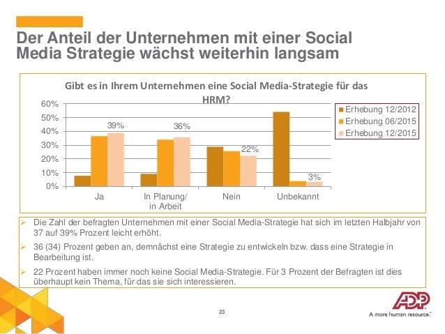 23 Der Anteil der Unternehmen mit einer Social Media Strategie wächst weiterhin langsam 39% 36% 22% 3% Ja In Planung/ in A...