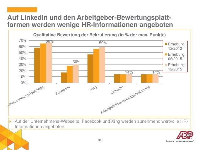 39 Auf LinkedIn und den Arbeitgeber-Bewertungsplatt- formen werden wenige HR-Informationen angeboten  Auf der Unternehmen...