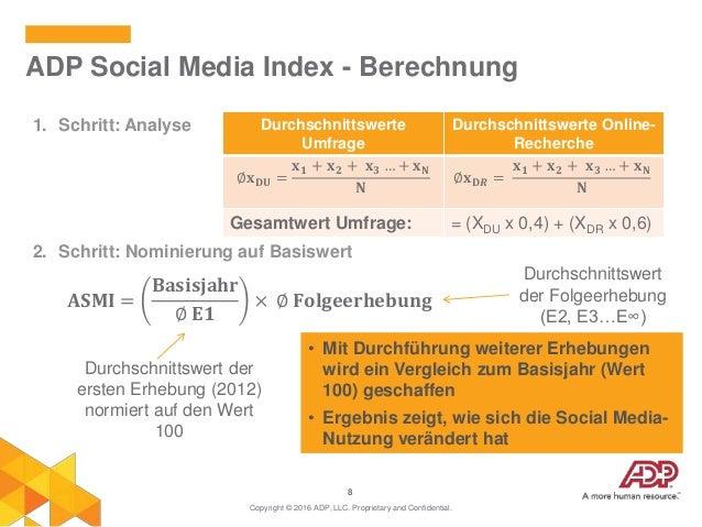 8 1. Schritt: Analyse 2. Schritt: Nominierung auf Basiswert ADP Social Media Index - Berechnung Copyright © 2016 ADP, LLC....