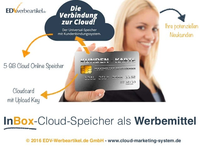 InBox-Cloud-Speicher als Werbemittel © 2016 EDV-Werbeartikel.de GmbH - www.cloud-marketing-system.de 5 GB Cloud Online Spe...