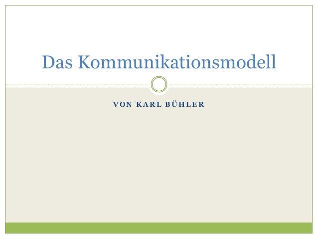 Das Kommunikationsmodell  VON KARL BÜHLER