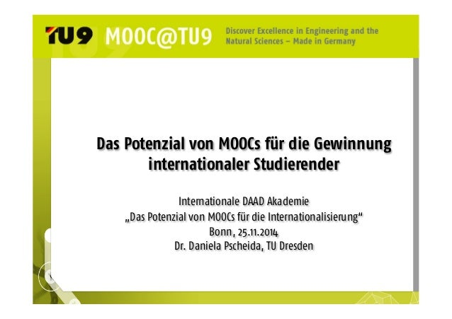 """Das Potenzial von MOOCs für die Gewinnung  internationaler Studierender  Internationale DAAD Akademie  """"Das Potenzial von ..."""