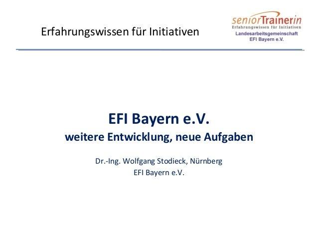 EFI Bayern e.V. weitere Entwicklung, neue Aufgaben Dr.-Ing. Wolfgang Stodieck, Nürnberg EFI Bayern e.V. Erfahrungswissen f...