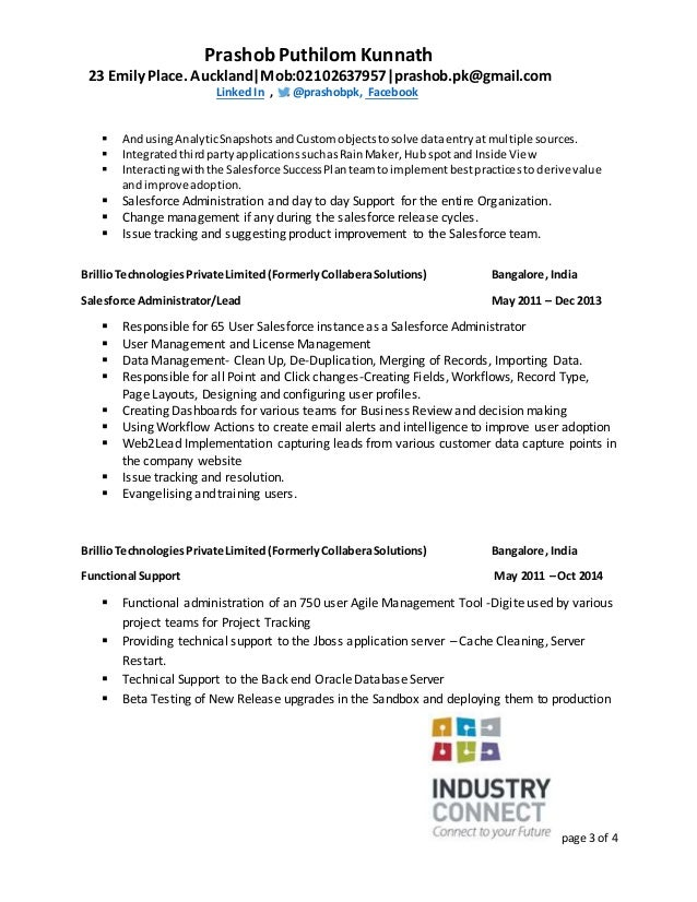 salesforce analyst resume