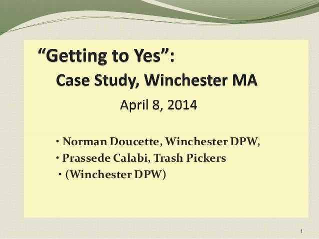 • Norman Doucette, Winchester DPW, • Prassede Calabi, Trash Pickers • (Winchester DPW) 1
