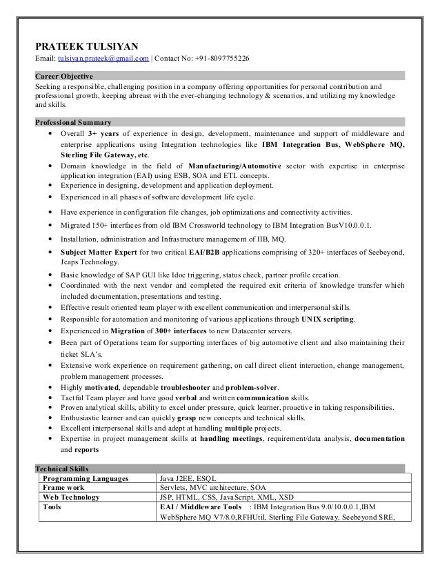 PRATEEK TULSIYAN Email: tulsiyan.prateek@gmail.com | Contact No: +91-8097755226 Career Objective Seeking a responsible, ch...