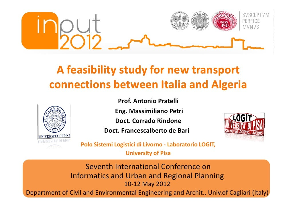 A feasibility study for new transport        connections between Italia and Algeria                                Prof. A...