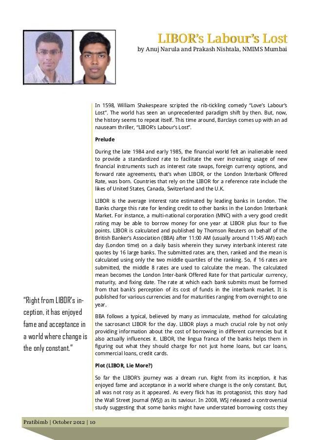 LIBOR's Labour's Lost                                              by Anuj Narula and Prakash Nishtala, NMIMS Mumbai      ...