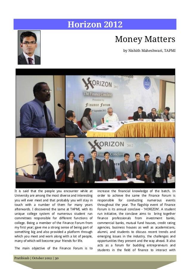 Horizon 2012                                                                    Money Matters                             ...