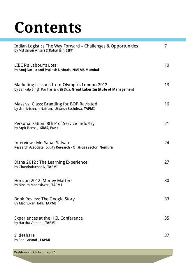 ContentsIndian Logistics The Way Forward – Challenges & Opportunities               7by Md Umair Ansari & Rahul Jain, IIFT...