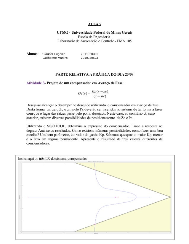 AULA 5 UFMG - Universidade Federal de Minas Gerais Escola de Engenharia Laboratório de Automação e Controle - EMA 105 Alun...