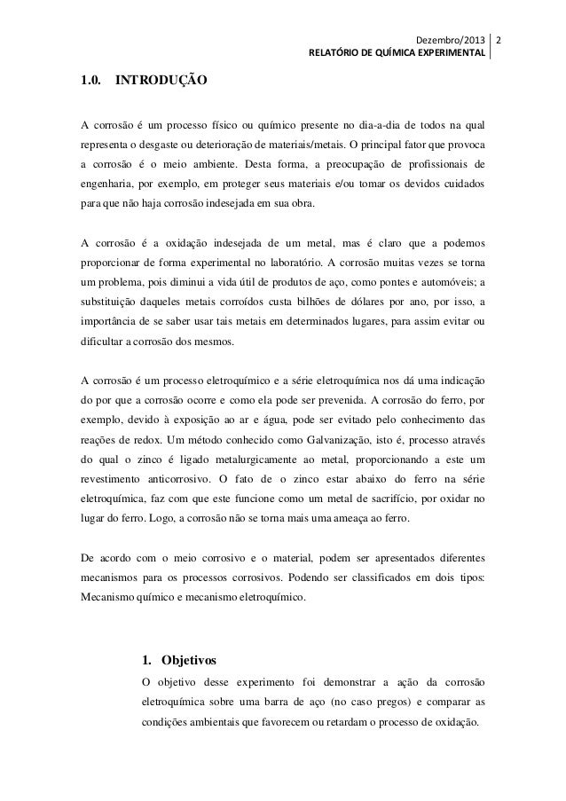 Exemplo de relatorio experimental