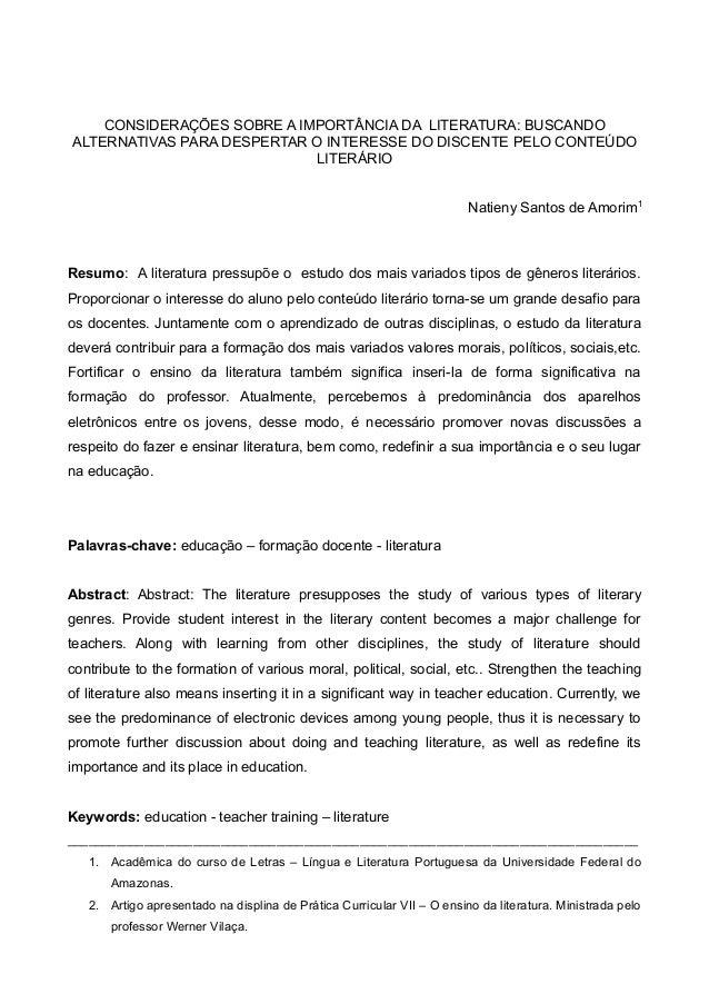 CONSIDERAÇÕES SOBRE A IMPORTÂNCIA DA LITERATURA: BUSCANDO  ALTERNATIVAS PARA DESPERTAR O INTERESSE DO DISCENTE PELO CONTEÚ...