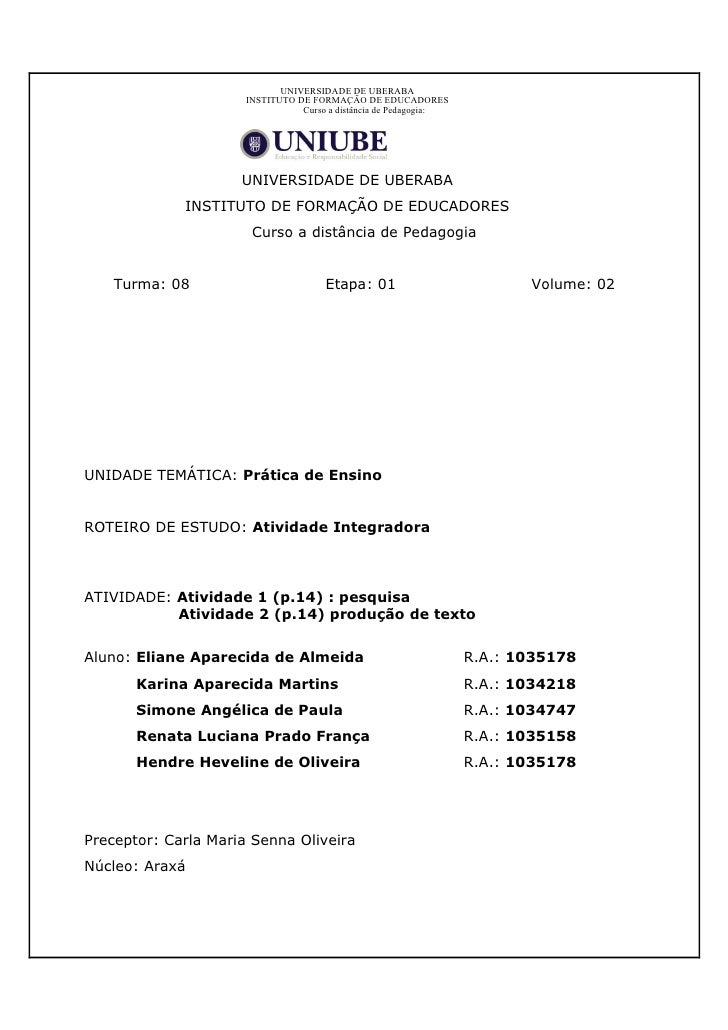 UNIVERSIDADE DE UBERABA                       INSTITUTO DE FORMAÇÃO DE EDUCADORES                                  Curso a...