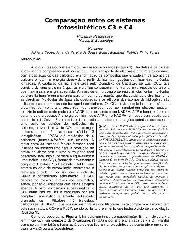 Quadro 1. A RUBISCO não tem apenas dois substratos, mas três. Sabe-se que a RUBISCO tem também afinidade pelo oxigênio mol...
