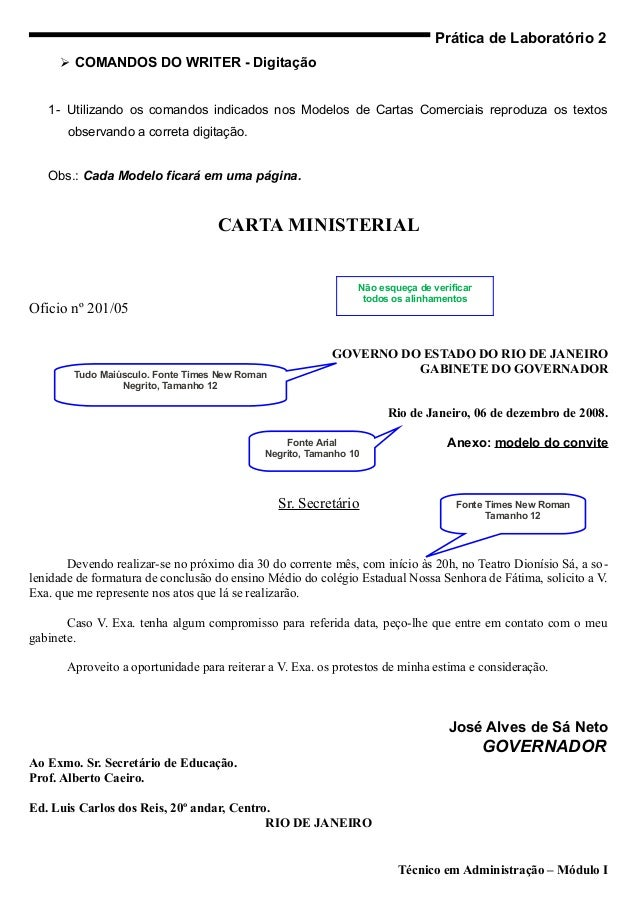 Prática de Laboratório 2      COMANDOS DO WRITER - Digitação   1- Utilizando os comandos indicados nos Modelos de Cartas ...