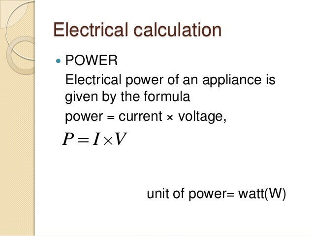 Electrical Calculation  POWER ...