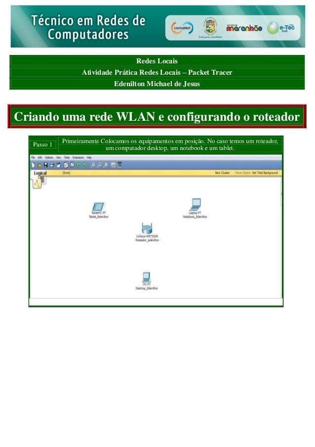 Redes Locais Atividade Prática Redes Locais – Packet Tracer Edenilton Michael de Jesus  Criando uma rede WLAN e configuran...