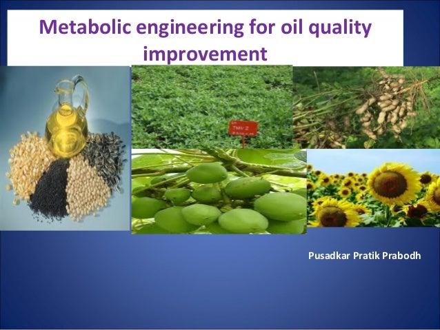 Metabolic engineering for oil quality           improvement                             Pusadkar Pratik Prabodh