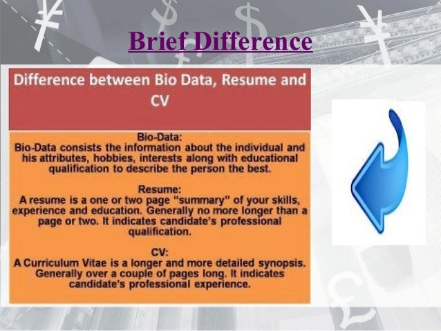 Resume CV Biodata Differences ePortfolio
