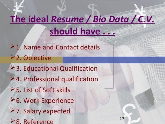 Resume CV Biodata Differences ePortfolio