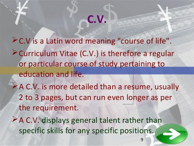 cv - Meaning Of Resume