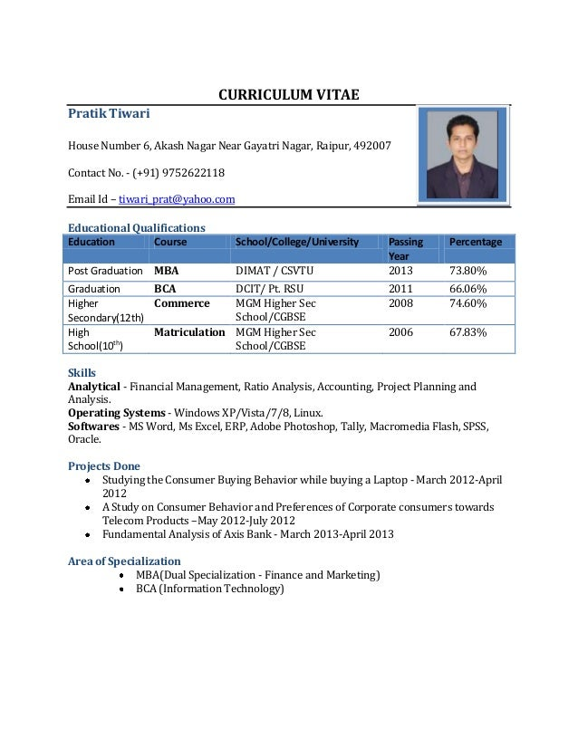 resume format for freshers curriculum vitae pratik tiwari house number 6 akash nagar near gayatri nagar raipur - Resume Formats For It Freshers