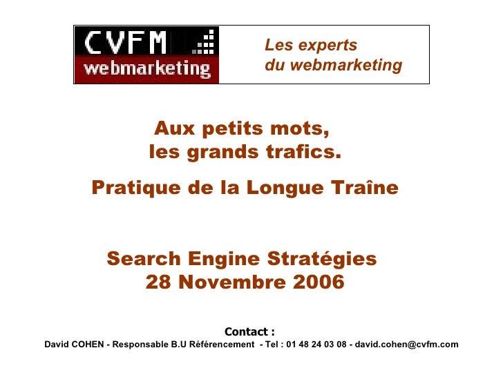 Aux petits mots,  les grands trafics. Pratique de la Longue Traîne Search Engine Stratégies  28 Novembre 2006 Contact :  D...