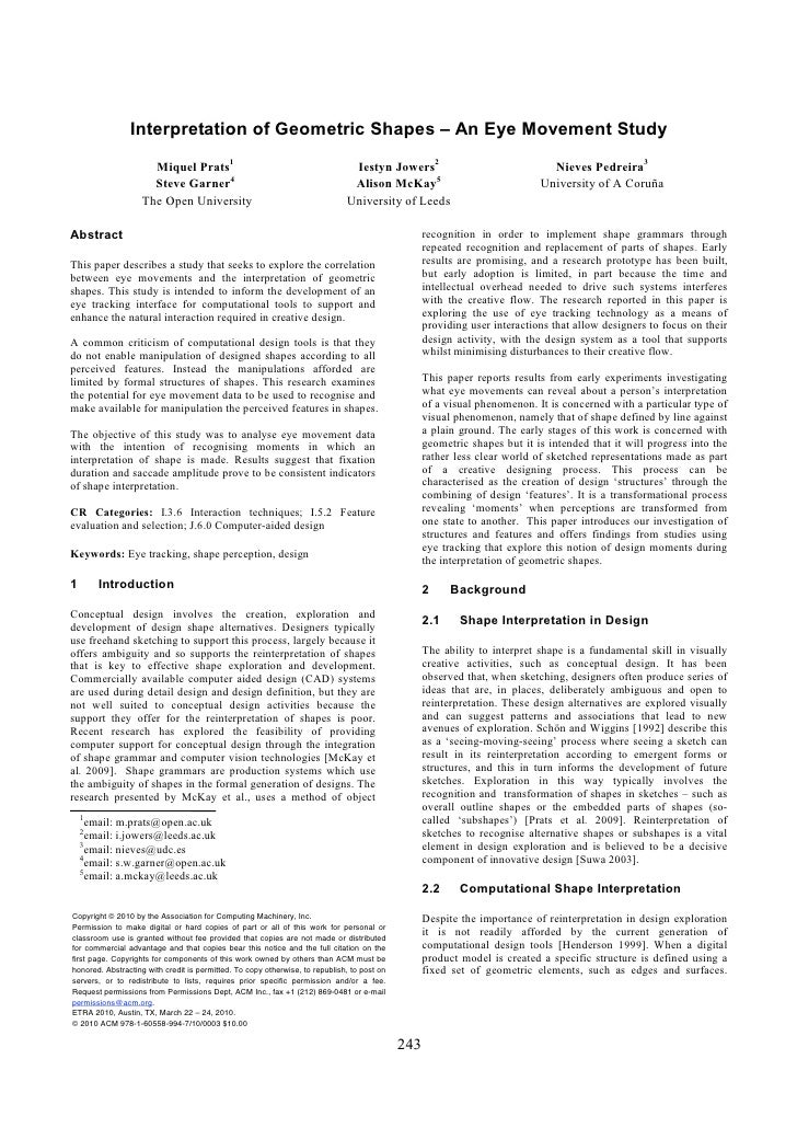 Interpretation of Geometric Shapes – An Eye Movement Study                       Miquel Prats1                            ...