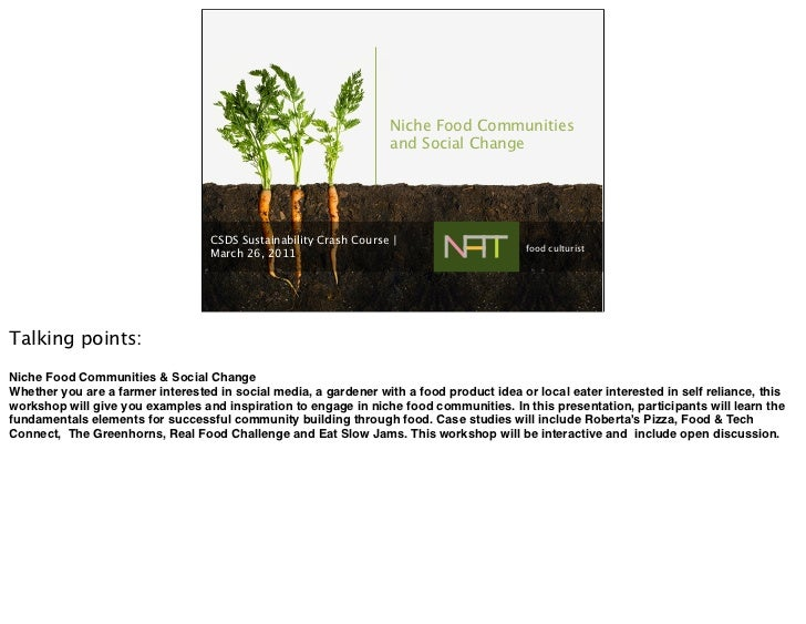 Niche Food Communities                                                                   and Social Change                ...
