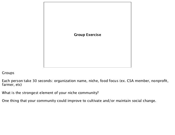 Group ExerciseGroupsEach person take 30 seconds: organization name, niche, food focus (ex. CSA member, nonprofit,farmer, et...