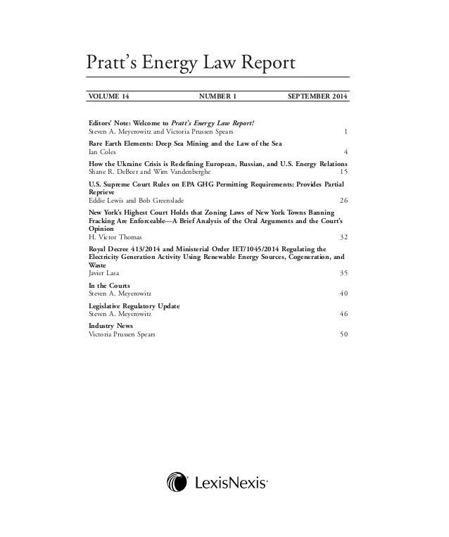 Pratts energy law report sample issue september 2014 fandeluxe Images
