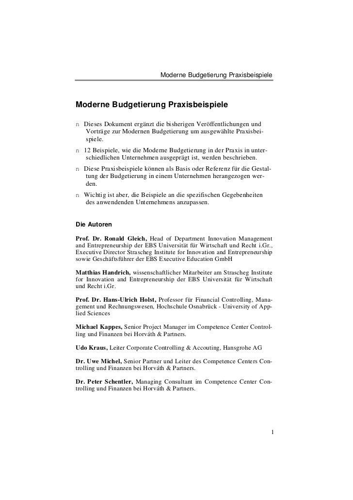 Moderne Budgetierung PraxisbeispieleModerne Budgetierung Praxisbeispielen Dieses Dokument ergänzt die bisherigen Veröffent...