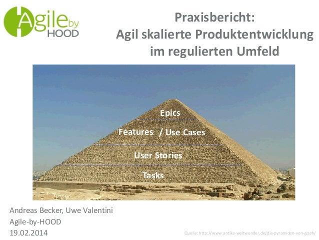 Praxisbericht: Agil skalierte Produktentwicklung im regulierten Umfeld Andreas Becker, Uwe Valentini Agile-by-HOOD 19.02.2...