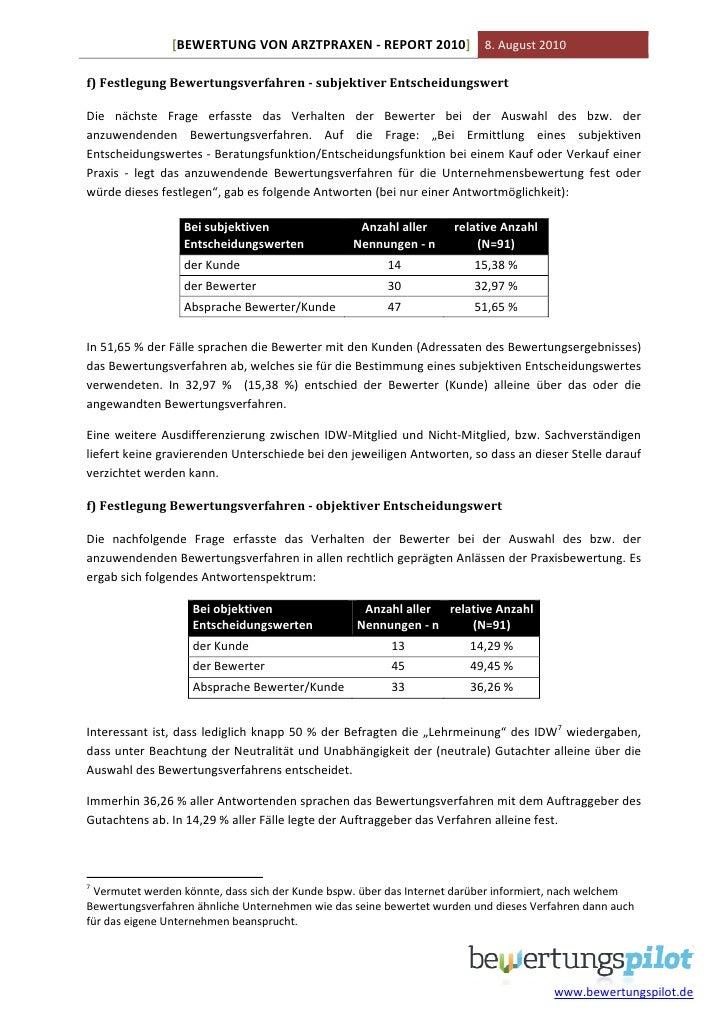 Praxisbewertung-Report 2010 - Umfrageergebnisse