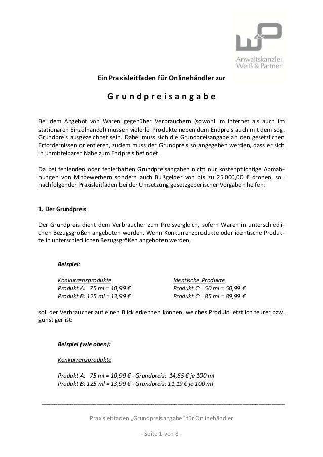 EinPraxisleitfadenfürOnlinehändlerzurGrundpreisangabeBei dem Angebot von Waren gegenüber...