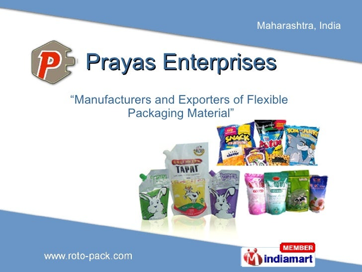 "Prayas Enterprises "" Manufacturers and Exporters of Flexible  Packaging Material"""