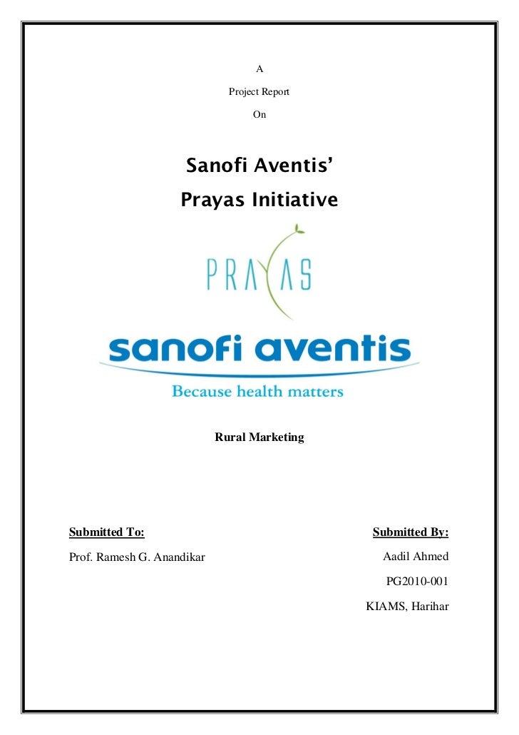 A                              Project Report                                   On                     Sanofi Aventis'    ...