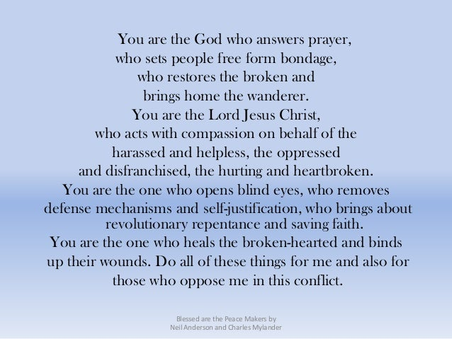 You are the God who answers prayer,            who sets people free form bondage,               who restores the broken an...
