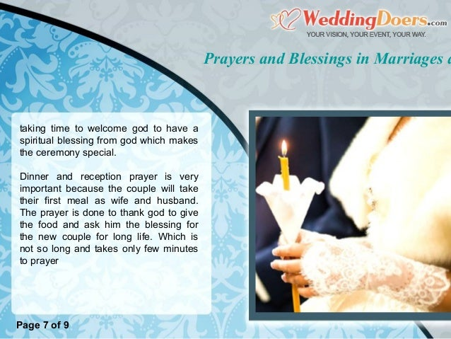 Prayers And Blessings In Marriages Reception