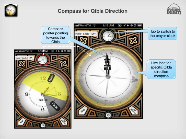 Compass for Qibla Direction<br />Tap to switch to the prayer clock<br />Compass pointer pointing towards the Qibla<br />Li...