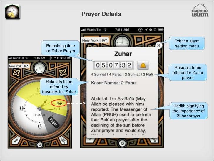 Prayer Details<br />Exit the alarm setting menu<br />Remaining time for Zuhar Prayer<br />Raka'ats to be offered for Zuhar...