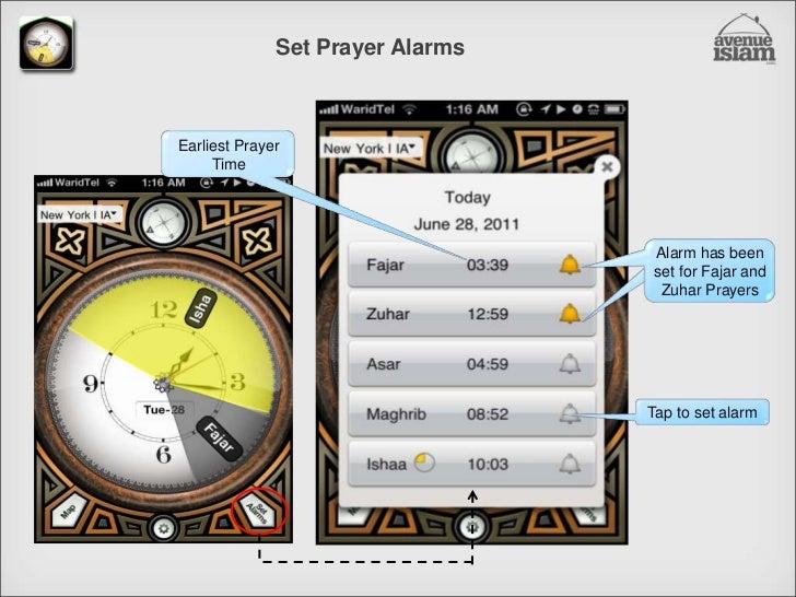 Set Prayer Alarms<br />Earliest Prayer Time<br />Alarm has been set for Fajar and Zuhar Prayers<br />Tap to set alarm<br />