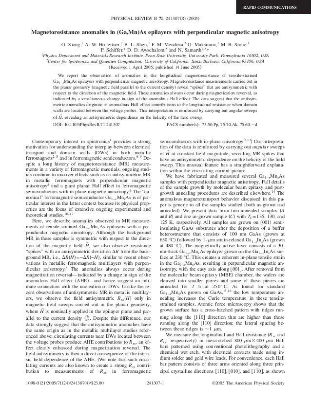 RAPID COMMUNICATIONS                                             PHYSICAL REVIEW B 71, 241307͑R͒ ͑2005͒  Magnetoresistance...