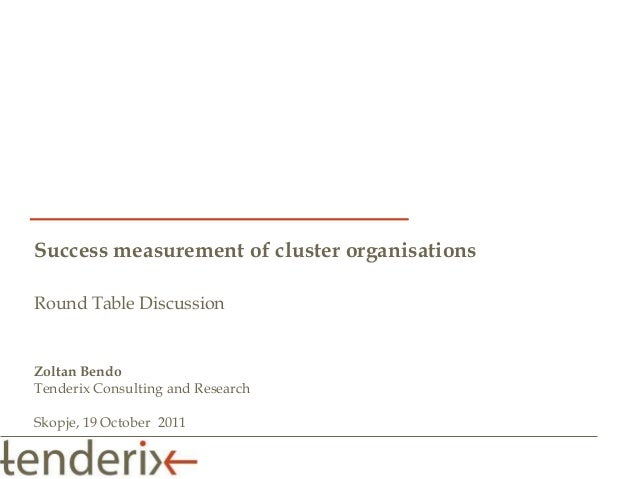 Success measurement of cluster organisationsRound Table DiscussionZoltan BendoTenderix Consulting and ResearchSkopje, 19 O...